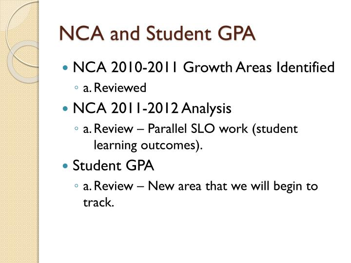 NCA and Student GPA