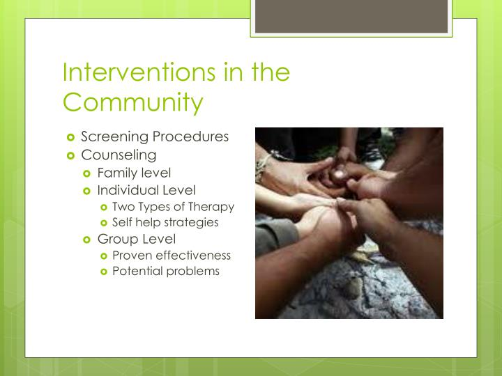Interventions in the Community