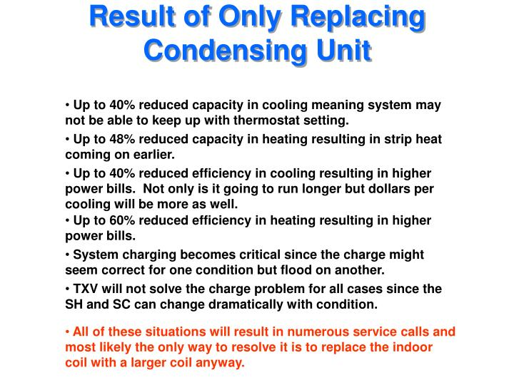 Result of Only Replacing Condensing Unit