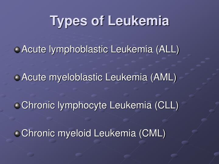a description of the chronic myelogenous leukemia cml one of the most common types of leukemia Leukemia was the 12th most common class of neoplastic disease,  chronic myelogenous leukemia (cml)  there is no known way to prevent most types of leukemia.