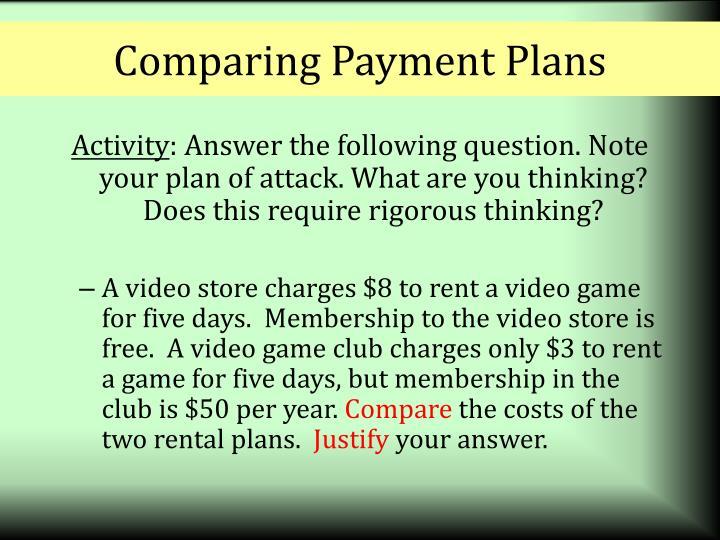 Comparing Payment Plans