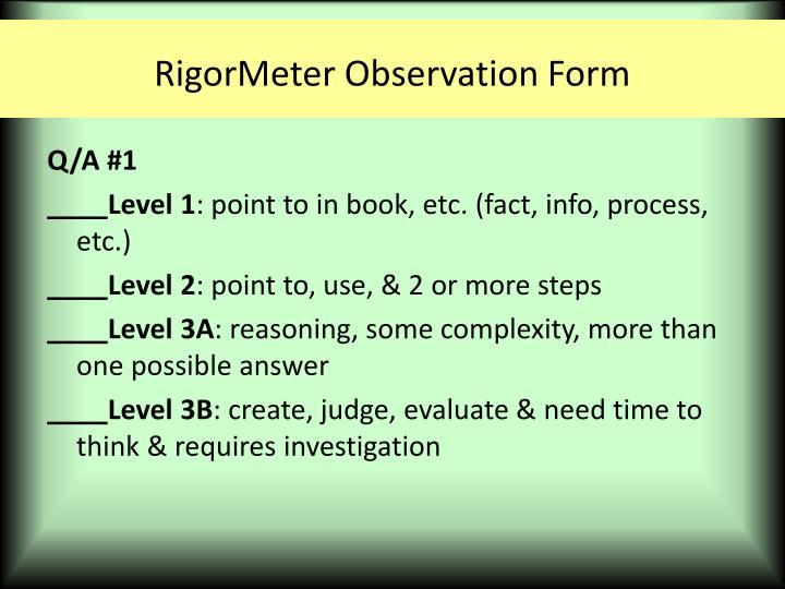 RigorMeter Observation Form