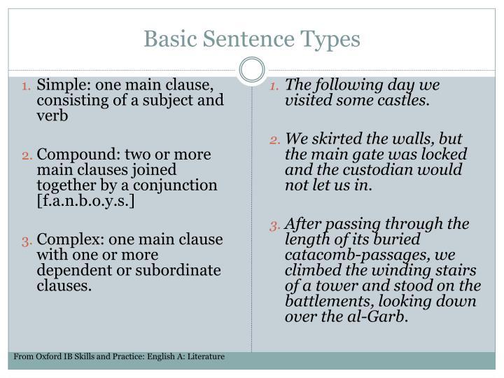 Basic sentence types