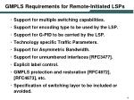 gmpls requirements for remote initiated lsps