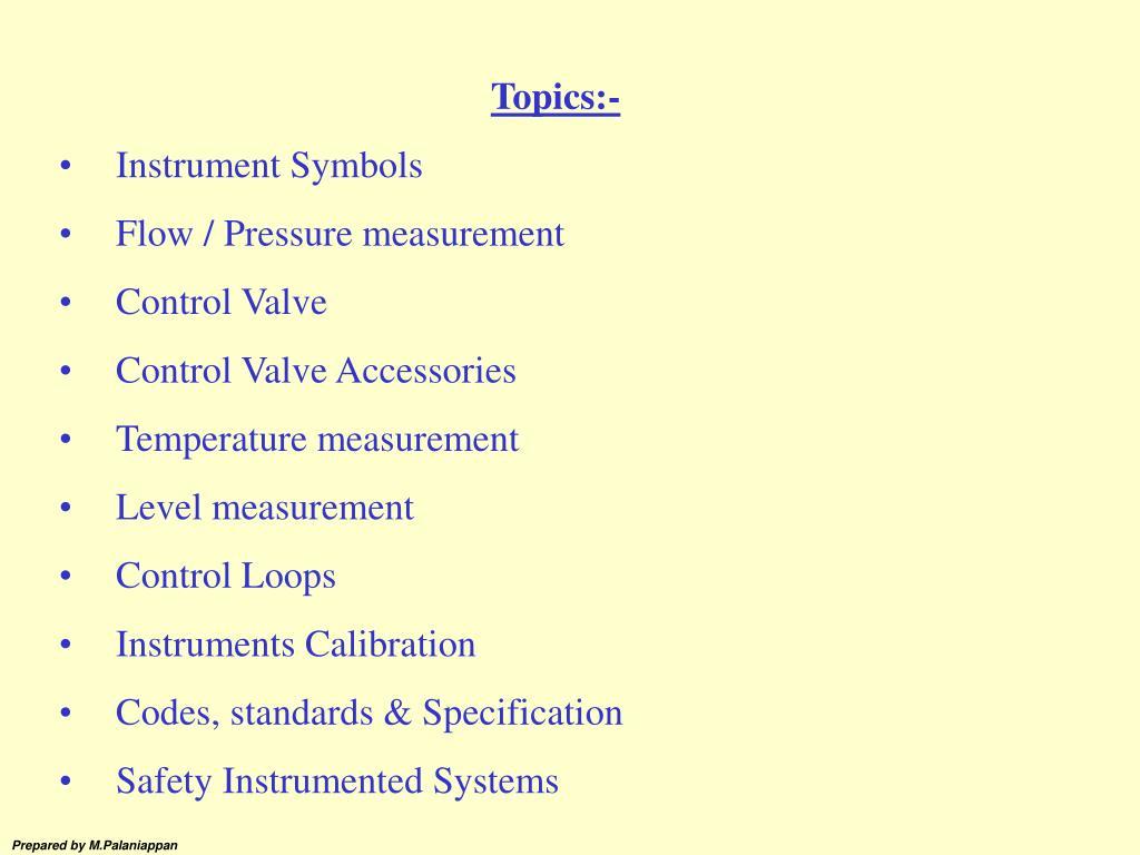 Ppt Topics Instrument Symbols Flow Pressure Measurement Block Valve Pid Symbol On Electrical Schematic Switch Control Accessories Powerpoint Presentation Id2742086