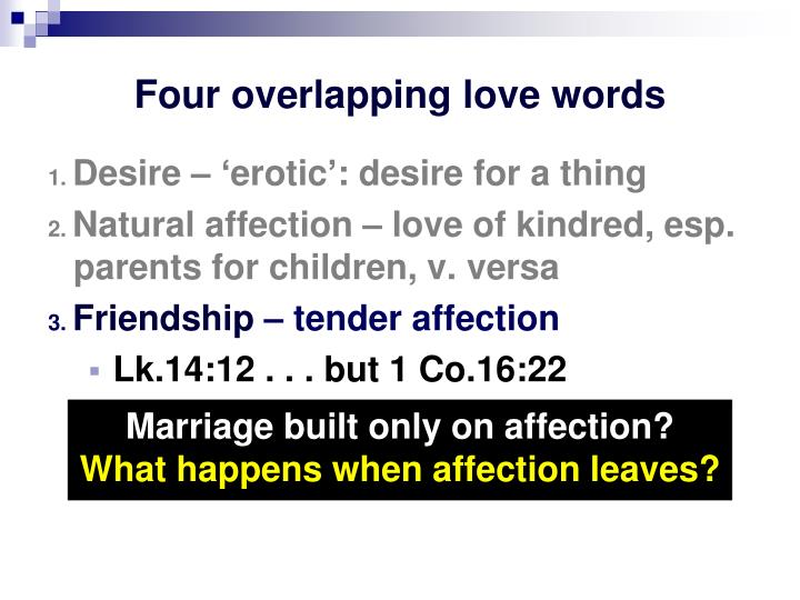 Four overlapping love words