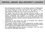 central library bba university lucknow