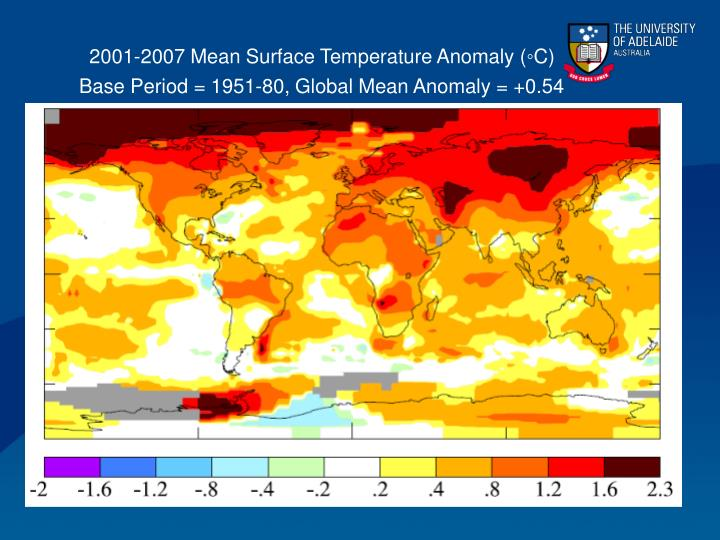 2001-2007 Mean Surface Temperature Anomaly (