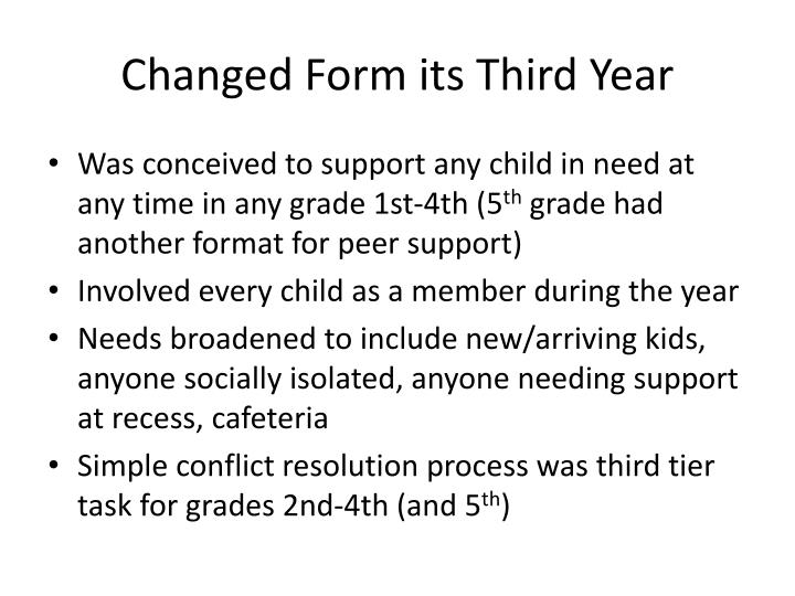 Changed Form its Third Year