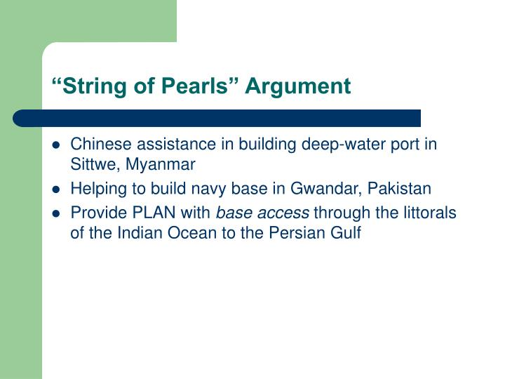 """String of Pearls"" Argument"
