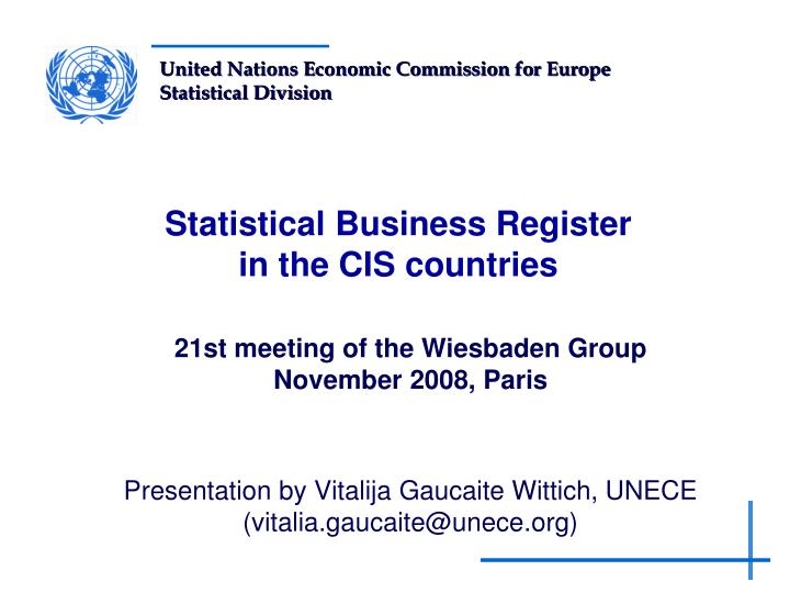 statistical business register in the cis countries n.