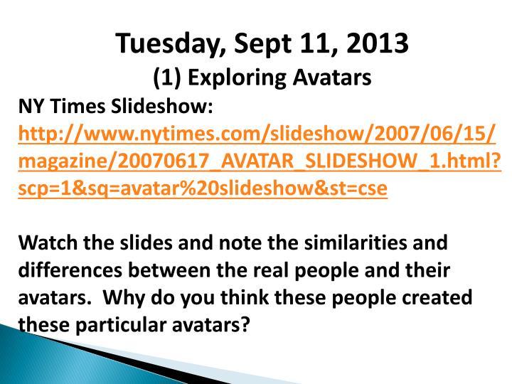 Tuesday, Sept 11, 2013