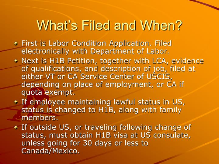 What's Filed and When?