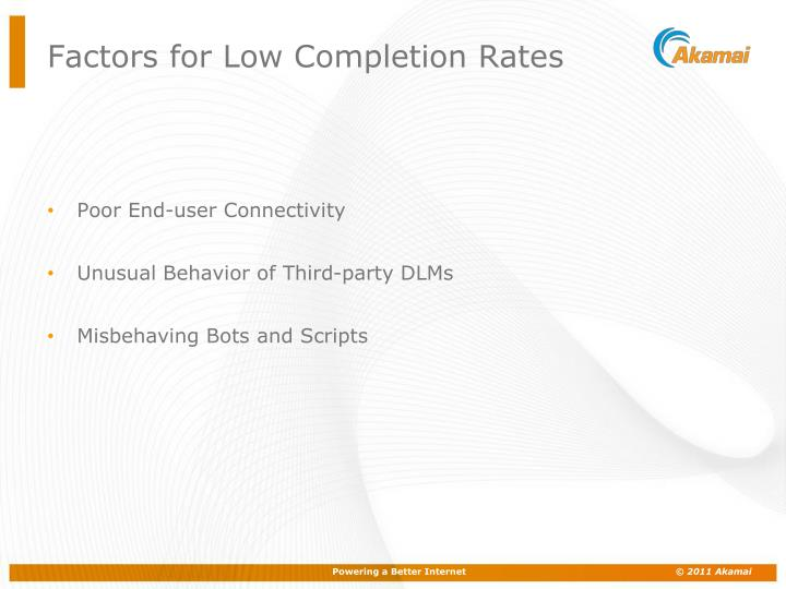 Factors for Low Completion Rates