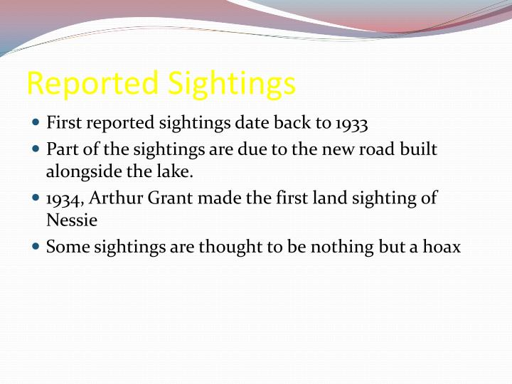 Reported Sightings
