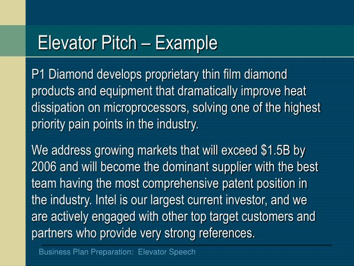 Elevator Pitch – Example