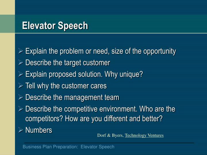 Elevator speech1