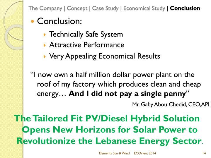 The Company | Concept | Case Study | Economical Study