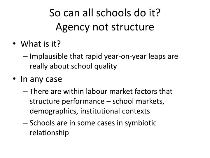 So can all schools do it?