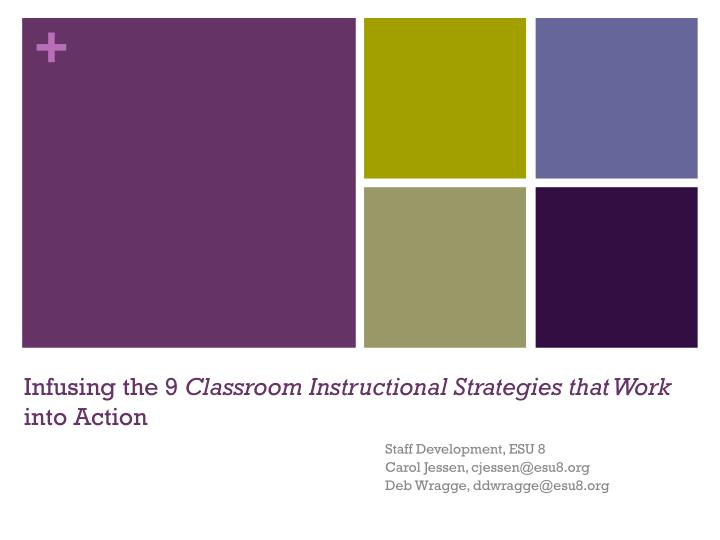 Infusing the 9 classroom instructional strategies that work into action