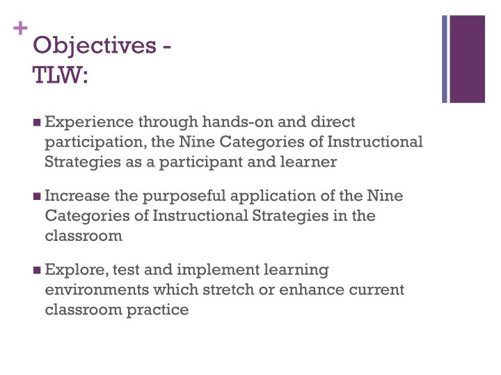 Objectives tlw