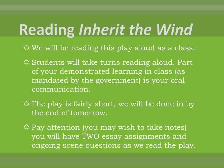 inherit the wind act 1 'inherit the wind' tackles religion, science, politics  the first act follows the trial's  origins down to its jury selection, while the second act.
