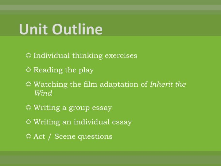 essay about inherit the wind Free essay: inherit the wind is about a 24-year-old teacher named bertram t  cates, who is arrested for teaching darwin's theory of evolution to his junior.