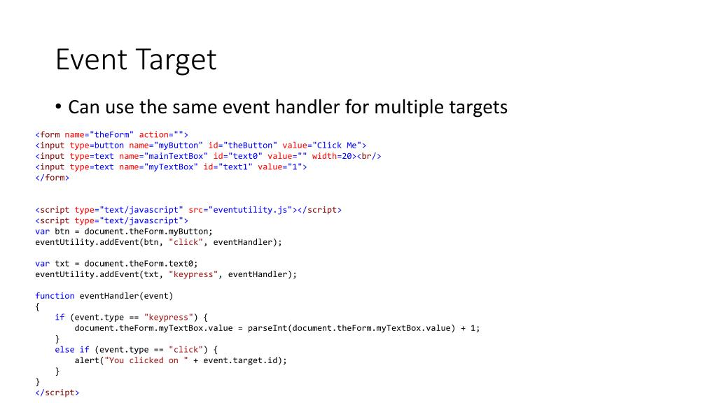 PPT - Intro to JavaScript Events PowerPoint Presentation - ID:2743146