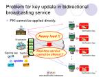 problem for key update in bidirectional broadcasting service