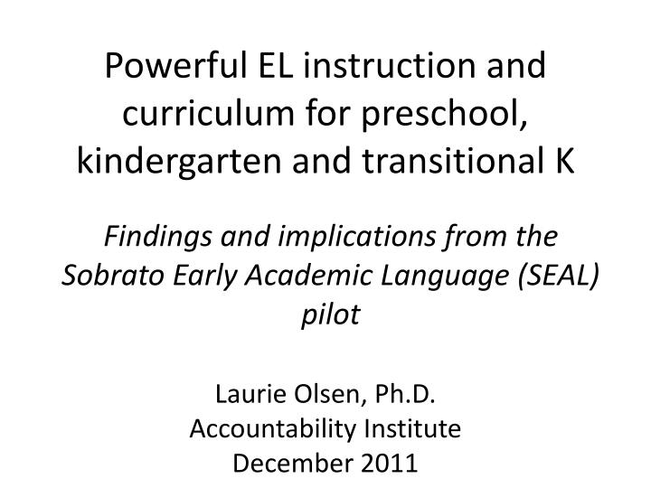 powerful el instruction and curriculum for preschool kindergarten and transitional k n.