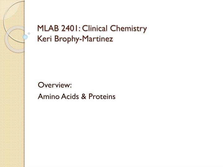 Clinical Chemistry: An Overview