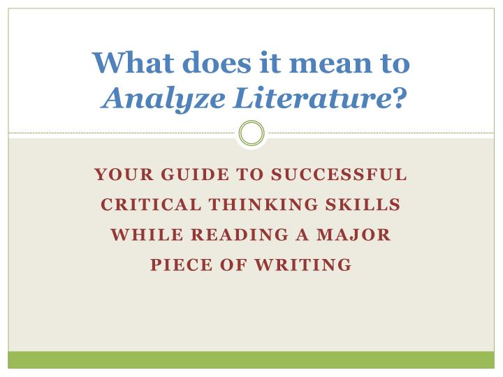 what does it mean to analyze literature n.
