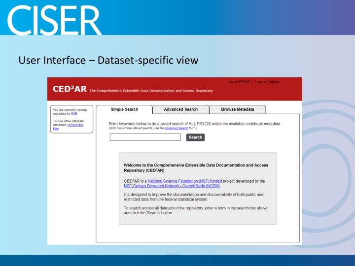 User Interface – Dataset-specific view