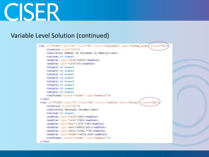 Variable Level Solution (continued)