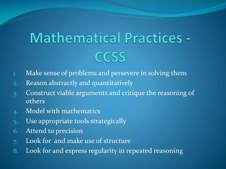 Mathematical Practices - CCSS