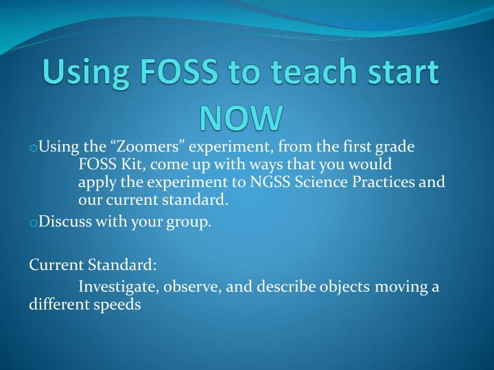 Using FOSS to teach start NOW