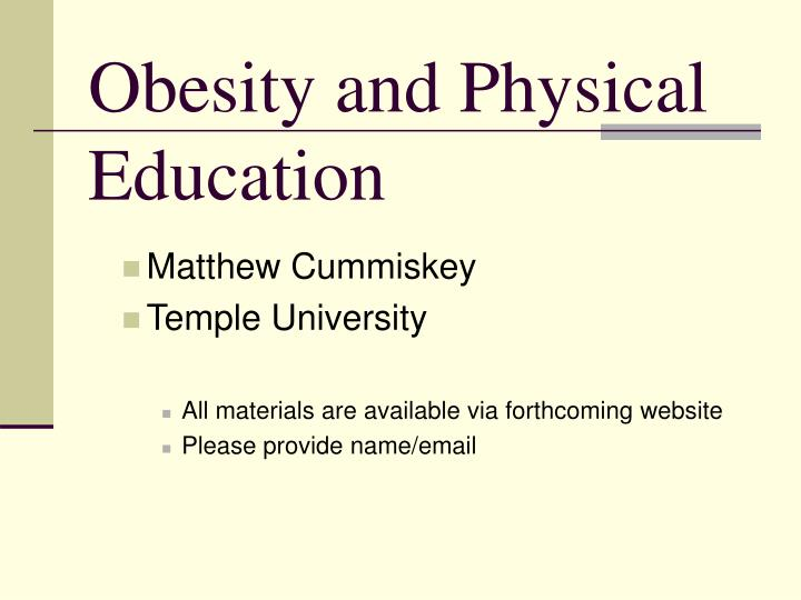 obesity and physical education n.