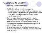 pe solutions to obesity hershey foods corp report