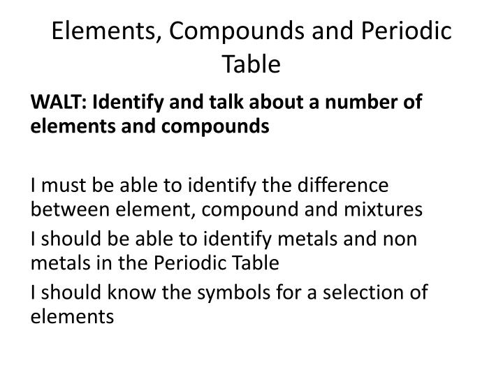 Ppt Elements Compounds And Periodic Table Powerpoint Presentation