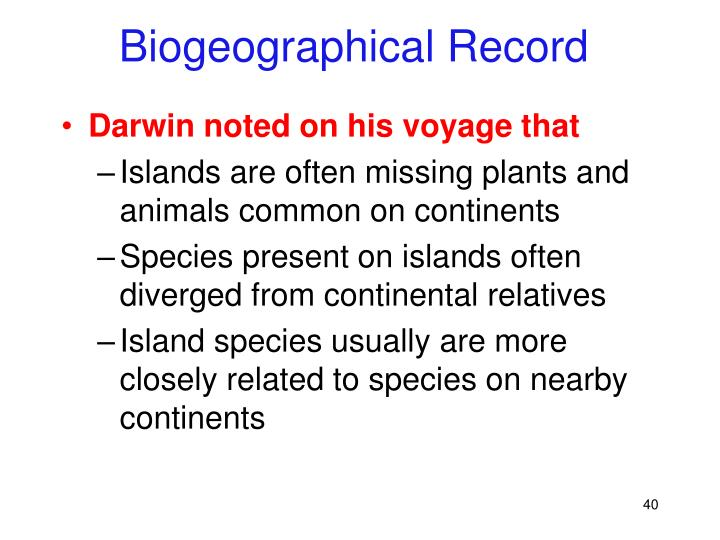 Biogeographical Record