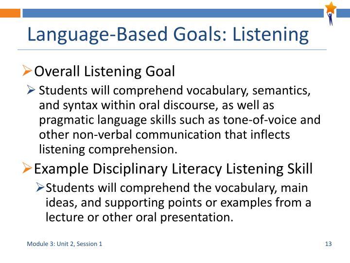 Language-Based Goals: Listening