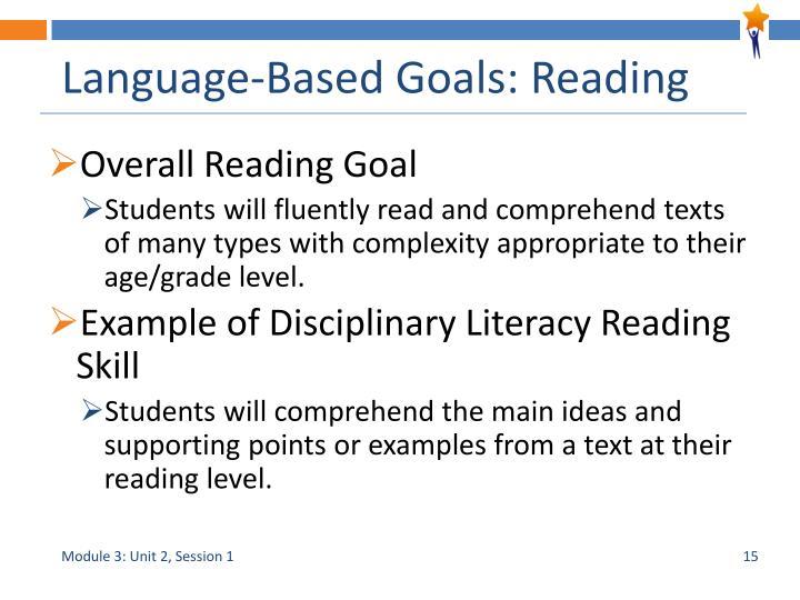 Language-Based Goals: Reading