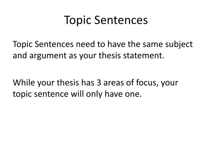 topic sentences n.