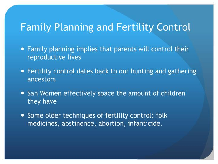Family Planning and Fertility Control