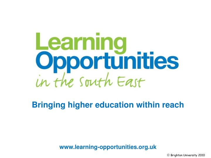 bringing higher education within reach n.