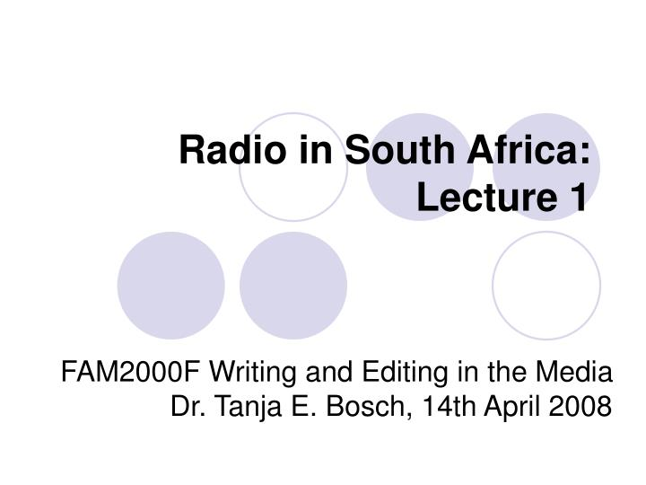 radio in south africa lecture 1
