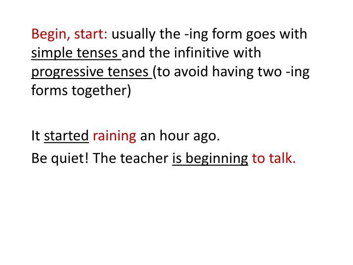 begin tenses