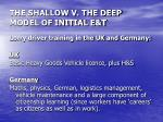 the shallow v the deep model of initial e t