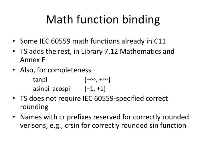 Math function binding