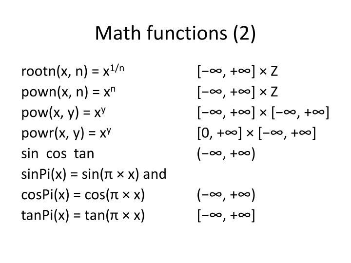 Math functions 2